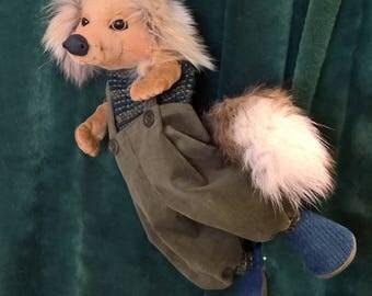hand puppet, puppet theater, boy fox