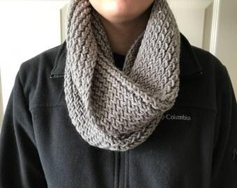 Handmade Gray Knit Infinity Scarf