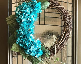 Spring Wreath with Turquoise Hydrangeas