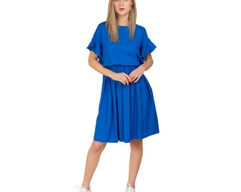 Blue dress with wing sleeves