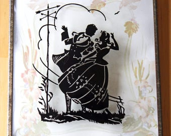 Vintage Reverse Painted Convex Glass Silhouette Scene of a Victorian Couple