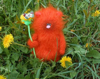 Orange cat with a dandelion, crochet stuffed animal, hand knitted toy, cats, amigurumi