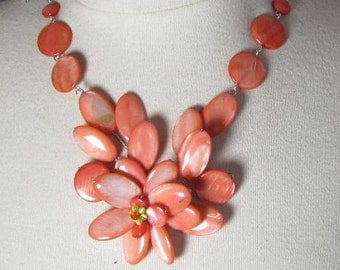 statement necklace, bib necklace, handcrafted and threaded by hand in a beautiful blossom, MOP beads, organic
