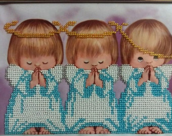 Angels,embroidery with beads, hand made