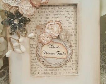Inspirational Framed Art Piece - Love Never Fails