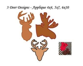 Deer Head Applique Design - 3 designs Instant Download