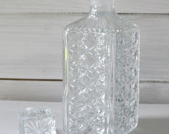 Retro Vintage Cut Class Crystal Whisky Decanter, Vintage Wedding Decanter, Party Decanter