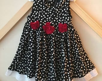 Custom Baby Dress – Black and White Polka Dot with Red Flowers – 125.00