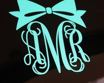 5 inch Monogram Decal with Bow