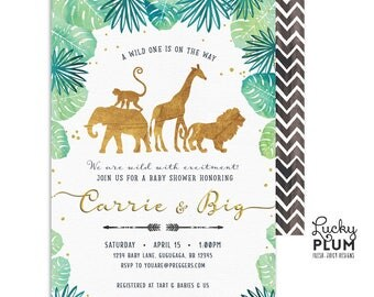 Safari Baby Shower Invitation / Gold Safari Baby Shower Invitation / Couples Baby Shower Invitation / Coed Baby Shower Invitation SF01