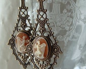 Antique Hand Carved Figural Shell Cameo Earrings Reconstructed Artisan Assemblage Vintage Filigree Etruscan Victorian Style Repurposed