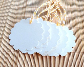 Cream Gift Tags, Scalloped Gift Tags, Gift Tags with Twine, Hang Tags, Favor Tags, Blank Tags, 2 Inch Gift Tags, Set of 10 Tags