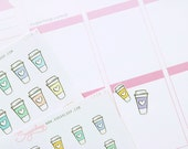 Cute coffee planner stickers, 30 coffee date stickers, coffee cup stickers, frap iced coffee, hot chocolate, meeting, reminder, diary, CFE8