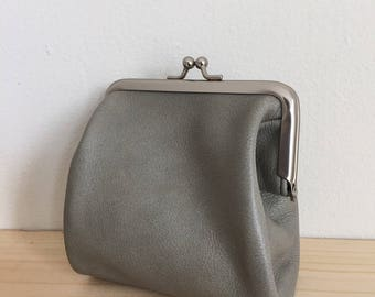 Light Gray Leather Clasp Frame Small Pouch