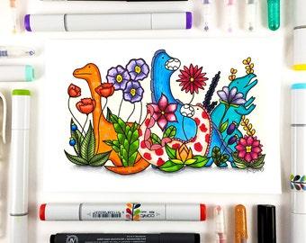 One Of A Kind Dinosaur Flower Drawing, OOAK Illustration, Original Art, Colorful Marker Nursery Wall Art, 5.5x8.5