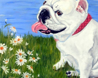English Bulldog Portrait Painting Print
