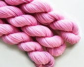 ballet / hand dyed yarn / mini skein / sock fingering yarn / merino wool superwash / embroidery / 4 ply / sparkle / pale baby pink yarn