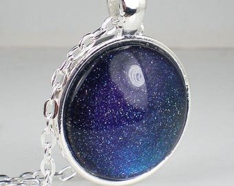 Blue Teal Purple Holo Glitter Nail Polish Necklace Jewelry