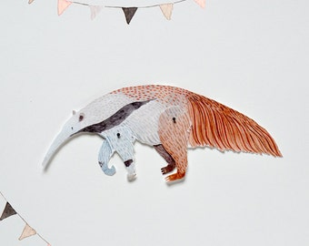 Anteater Articulated Paper Doll Printable Instant Download PDF