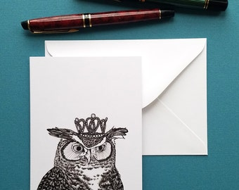 great horned owl wears a glittering crown blank greeting card note card and envelope 4 x 6