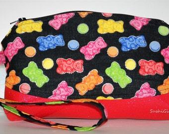 Gummy Bear Wristlet Purse - Candy Fabric, Kawaii Purse, Cell Phone Purse, Glitter Vinyl, Glitter Fabric, Gummi Bears, Teen Gift, Makeup Bag