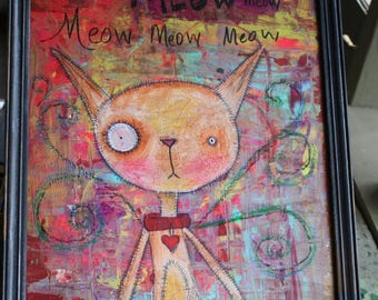 Funny odd-Eyed cat Painting abstract colorful background Meow Meow Meow Kitty