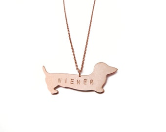 WIENER Dog Stamped Necklace