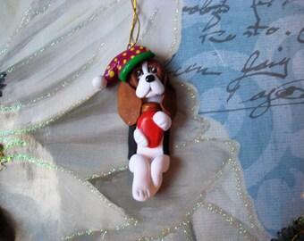 Basset Hound dog ornament, clay, handmade, lightbulb , whimsical, Christmas, tree, gift, keepsake