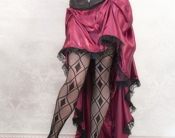 My Faire Lady - Burgundy Steampunk Bustle Skirt High Low Long Short - Ready to Ship