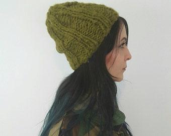 Avocado Green Handknit Ribbed Beanie - Chunky Knit Rib Knit Hat in Recycled Ecofriendly Wool Yarns - Soft Natural Handspun Upcycled Beret