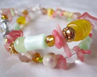 Pink double strand bracelet with pearl, glass, coral, stone / pink and yellow women's jewelry