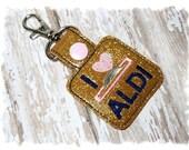 Aldi Quarter Keeper, Aldi Keychain, I Love Aldi, Aldi Key Fob, Gold Glitter