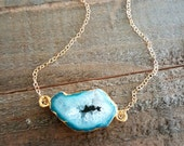 Aqua Blue Necklace, Agate Necklace, Geode Gold Necklace, Druzy Necklace, Gift for her