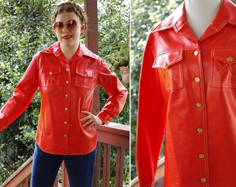 ORANGE Slice 1970's Vintage Bright Orange Button Down Vinyl Shirt Jacket w/ Pointed Collar // size Small Med 36 // by Jonathan LOGAN