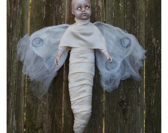 White Moth Porcelain Doll By Ugly Shyla - Moths are said to be the souls of children  --- ghost - soul - folklore - all hand sewn -
