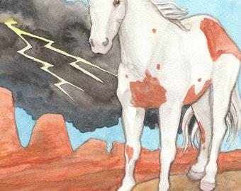 Original Art - The Tower - Watercolor Horse Painting - Art from The Riderless Tarot
