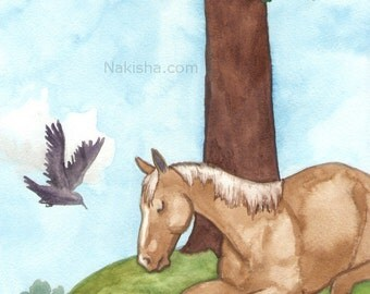 Original Art - The Four of Cups - Watercolor Horse Painting - Art from The Riderless Tarot