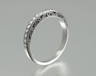 UNDER A SPELL sterling silver Wedding Band with White Sapphires half-eternity band