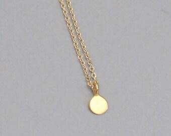 Very Tiny Gold Coin Necklace Charm Chain DJStrang Minimalist Very Tiny Dot Charm