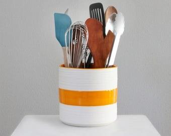 Modern Porcelain Utensil Crock, Large Groove Kitchen Crock in Orange, Ceramic Utensil Holder, Handmade Pottery Utensil Crock