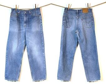 80s Levi's 550 Jeans / Vintage 1980s Levi's Distressed Denim / 34 W x 29 L