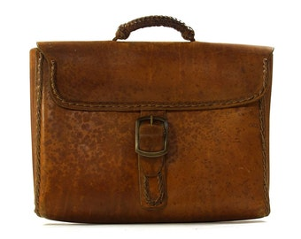 60s Leather Attache / Vintage 1970s Distressed Leather Briefcase / Handmade Messenger Bag / Whipstitched & Tooled Leather Braided Handle