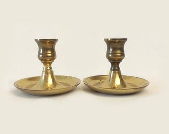 Vintage Solid Brass Candlesticks, Pair Candle Holders Made in England