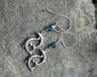 Sterling silver Dolphin earrings Aqua crystal earrings