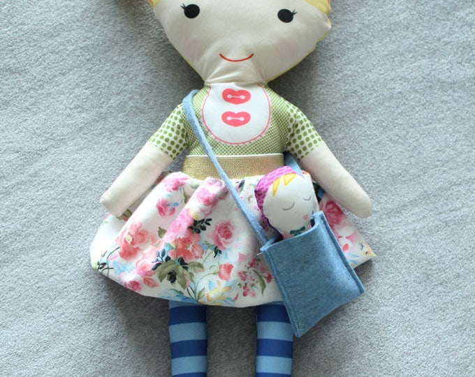 Doll pigtails skirt bag baby rag doll stuffed doll young girl birthday gift blond pink floral skirt stripe leggings cloth fabric
