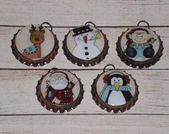 Set of 5 Bronze Bottle Caps Christmas Santa Reindeer Elf Snowman Penguin Charms Mini Tree Ornaments Necklaces Party Favors  Ornies Gift Ties