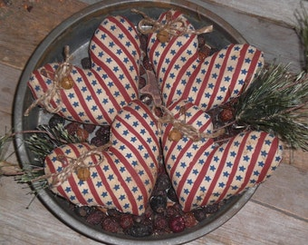 Set of 4 Primitive Grungy Rustic Red White  Blue Stars & Stripes Americana USA July 4 Heart Shaped Bowl Fillers - Ornies - Tucks - Ornaments
