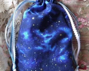 Drawstring Bag, Tarot Bag, Cotton Tarot Bag, Starry Night Sky, Tarot Bag, Cotton Fabric Bag, Wicca Pagan, Runes Bag, Divination, Tarot Deck