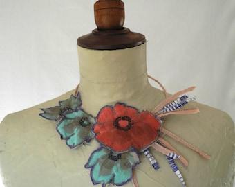 Poppy flowers necklace, silk choker, vintage flower necklace, women jewelry