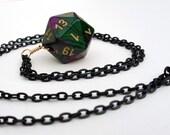 Dice Necklace - Purple Green Swirl D20 Twenty Sided Dice Pendant Jewelry - Geeky Gamer Jewelry